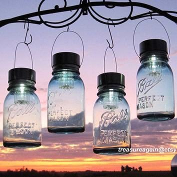 Hanging Mason Jar Lights 4 Ball Mason Jar Solar Lights, Outdoor Garden Quart Aqua Blue Glass Antique Hanging Lanterns, Gifts