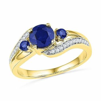 10kt Yellow Gold Women's Round Lab-Created Blue Sapphire 3-stone Diamond Ring 1-1/10 Cttw - FREE Shipping (US/CAN)