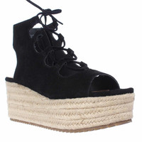 Steve Madden Surfant Platform Wedge Sandals - Black Suede