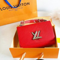 LV Louis Vuitton Fashion New Leather Chain High Quality Crossbody Shoulder Bag Women Red