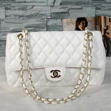 CHANEL Women Shopping Metal Chain Leather Crossbody Shoulder Bag