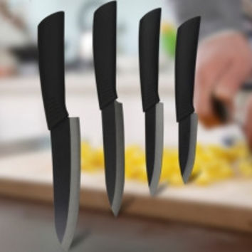 Black Blade Ceramic Knife Set - Chef's Kitchen Knive - 4 Size