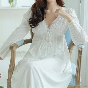 PEAPONHS Autumn Vintage Nightgowns V-neck Ladies Dresses Princess White Sexy Sleepwear Lace Home Dress Comfortable Long Nightdress #HH13