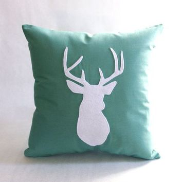 Sea Green & White Pillow Cushion  - Deer Head 14X14