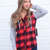 Here We Go Hooded Flannel - Red