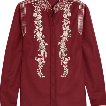Vilshenko - Koby embroidered wool and cashmere-blend blouse