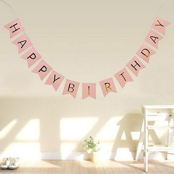 Cute Pink Baby Kids Happy Birthday Banner Pennant Garland Hanging Gold Letters Tag Photo Props Birthday Party Decoration Supplie