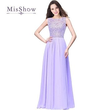 MisShow 10 Colors Robes De Demoiselle D'honneur A Line Long Lilac Bridesmaid Dresses 2017 Chiffon Lace Prom Formal Party Gown