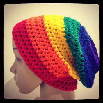 Crochet rainbow slouch hat bright, rainbow hat, rainbow beanie