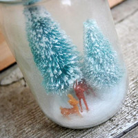 Mason Jar Winter Scene Diorama - Waterless Snow Globe - Reindeer - Winter Wonderland