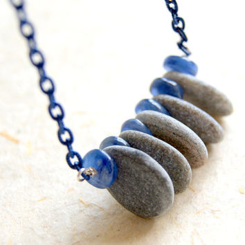 Kyanite and Beach Stone Necklace - Vintage Blue Enameled Chain - Rustic - bohemian jewelry - boho chic - gift under 50