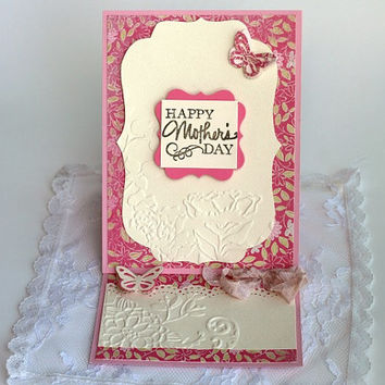 Handmade Happy Mother's Day card with coupon Paper handmade greeting card, 3D Pop up card Easel Card