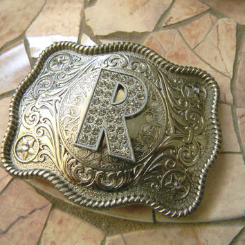 Monogram Letter R Personalized Silver Belt Buckle, Rhinestone Initial R Monogrammed Womens Mens Kids Western Belt Buckle, Custom Belt Buckle