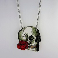 Rose Skull Punk Style Necklace Chain