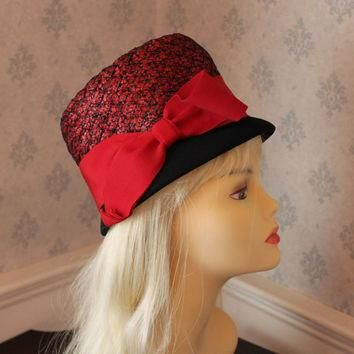 Vintage Jordan Marsh Red and Black Straw Bucket Hat with Red Ribbon