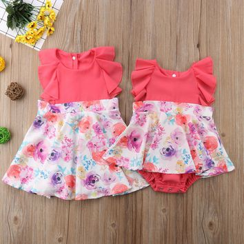 Matching Coral Flower Sister Outfits