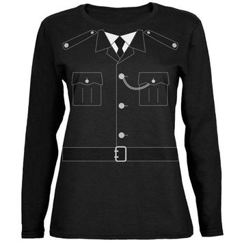 LMFON Halloween British Bobby Copper Police Costume Ladies' Relaxed Jersey Long-Sleeve Tee