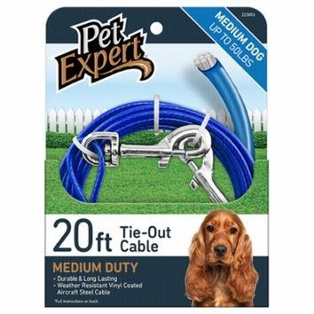 Pet Expert® PE223853 Light Weight Steel Aircraft Dog Tie Out Cable, 20'