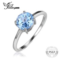 JewelryPalace Round 1.6ct Natural Sky Blue Topaz Birthstone Solitaire Ring Genuine 925 Sterling Silver Jewelry for Women-in Rings from Jewelry & Accessories on Aliexpress.com | Alibaba Group