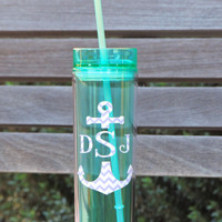 Monogrammed tumbler, skinny tumbler, acrylic cup, cup with straw, personalized water cups, wedding party favor, bridal party favor, tall cup