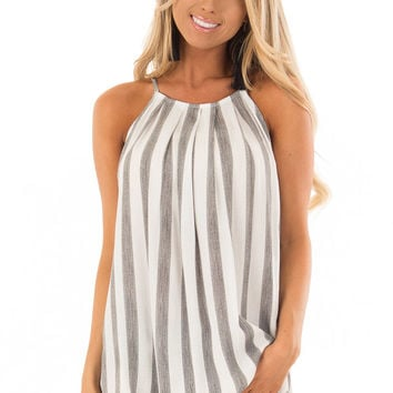 Charcoal and White Striped Tank Top with Button Down Back
