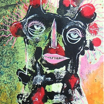 Quirky Folk Art - Cute Ugly Art - Ugly Face Painting - Red Black Green -  Expressionist Art - Primitive Face - Primitive Art - Weird Face