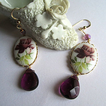 Purple Rose Glass Cameo with Purple Glass Drop