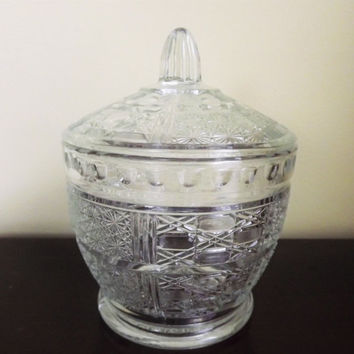 Vintage Candy Jar, Daisy and Cane Pressed Glass Condiment Jar, Clear Glass Star Lidded Trinket Storage Container, KIG Indonesia