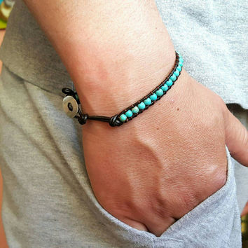 Mens Bracelet Turquoise Wrap Bead Jewel