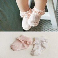 Sweet Princess Baby Girls Socks Cotton Ruffles Ankle Length Baby Calcetines Pink White for 0-4 Years 1 Pair