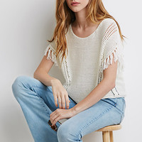 Loose-Knit Tasseled Fringe Top