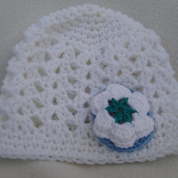 White Baby Beanie with Blue and White Flower 3-6 Months - HANDMADE BY ME