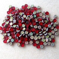 Czech Glass Flower Beads, Pansy Flowers, Pressed Glass, Carved Flower, Loose Lot of Beads, Cherry Red, Bead Supplies, Craft Supplies, (25)