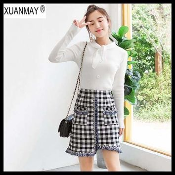 Autumn Knit skirt Korean women's High waist Tassel