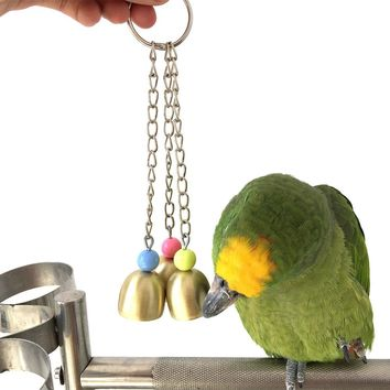 Large & Small Birds Parrot Toy Alloy Bells  Parrot Cage Essential Toys  Pet Supplies