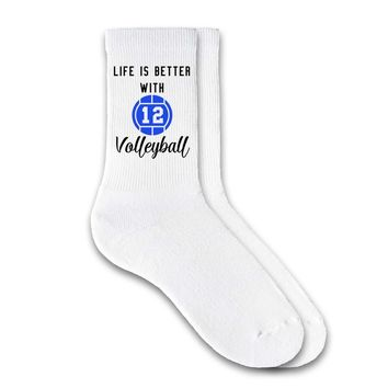Life is Better with Volleyball - Personalized Volleyball Crew Socks