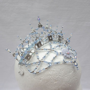 Professional Ballet Headpiece, Snow Queen Crown. Swarovski crystal & bead tiara.