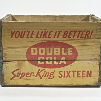 Vintage Wood Pop Crate / Double Cola Wood Pop Crate / Industrial Decor
