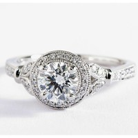 Monique Lhuillier Vintage Floral Halo Diamond Engagement Ring in Platinum (1/4 ct. tw.) | Blue Nile