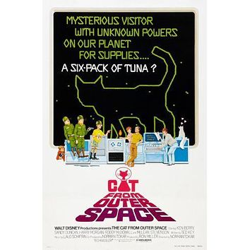 Cat From Outer Space Movie poster Metal Sign Wall Art 8in x 12in
