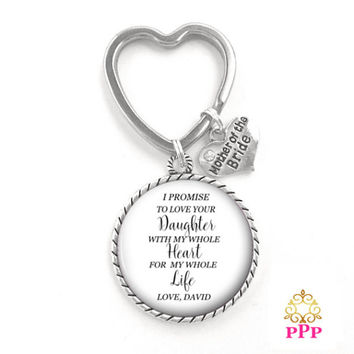 Mother of the Bride Gift Key Chain, Rehearsal Gift, Mother Key Chain Style 726
