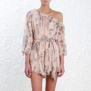 Womens Off-Shoulder Floral Print Jumpsuit Romper
