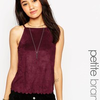 New Look Petite | New Look Petite Suedette High Neck Cami With Scallop Edge at ASOS