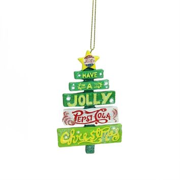 "4"" Glittered Jolly Pepsi Tree Christmas Ornament"