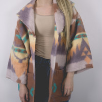 Vintage Pastel Aztec Fleece Jacket