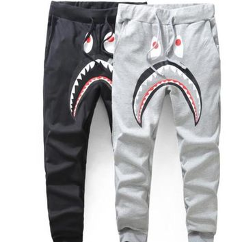 Mens Sportswear Pants Jogger Tracksuit Causel Terry Fabric Crewneck Bird OVO Drake Black Hip Hop stusay Men Shark Mouth A P Ehead trousers