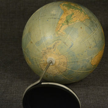 Small Vintage World Globe 70's Bulgaria, 6.3'' Plastic World Bank, School Globe, Compact Decorative Desk Globe