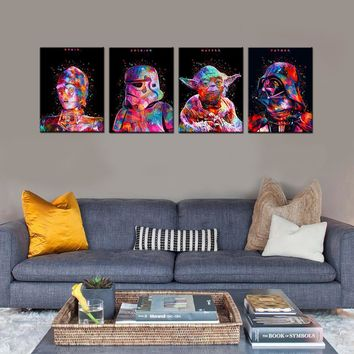 4pc HD Printed Star Wars Painting