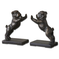 Uttermost 19643 Black Bulldogs Bookends, Set Of Two