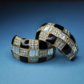 ST. JOHN Huge Vintage Gold, Black Enamel, Clear Pave and Baquette Rhinestone, Chunky Huggie Hoop Clip Earrings, Big, Bold and Fab! #a641